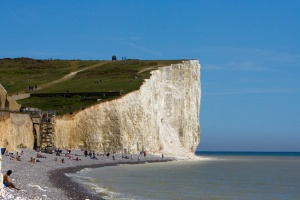 chalk cliffs and sea at birling gap, sussex